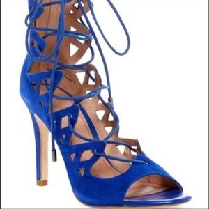 Joie Quinn Blue Lace Up Gladiator Heels